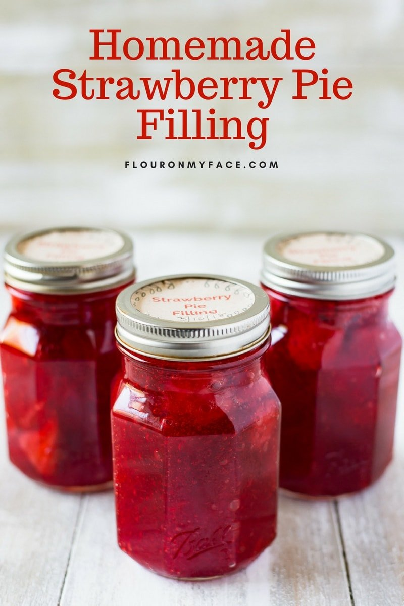 Filled jars of homemade Strawberry Pie Filling