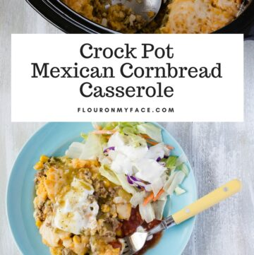 Crock Pot Mexican Cornbread Casserole recipe is layers of ground beef, cheese and real cornbread made with cornmeal.
