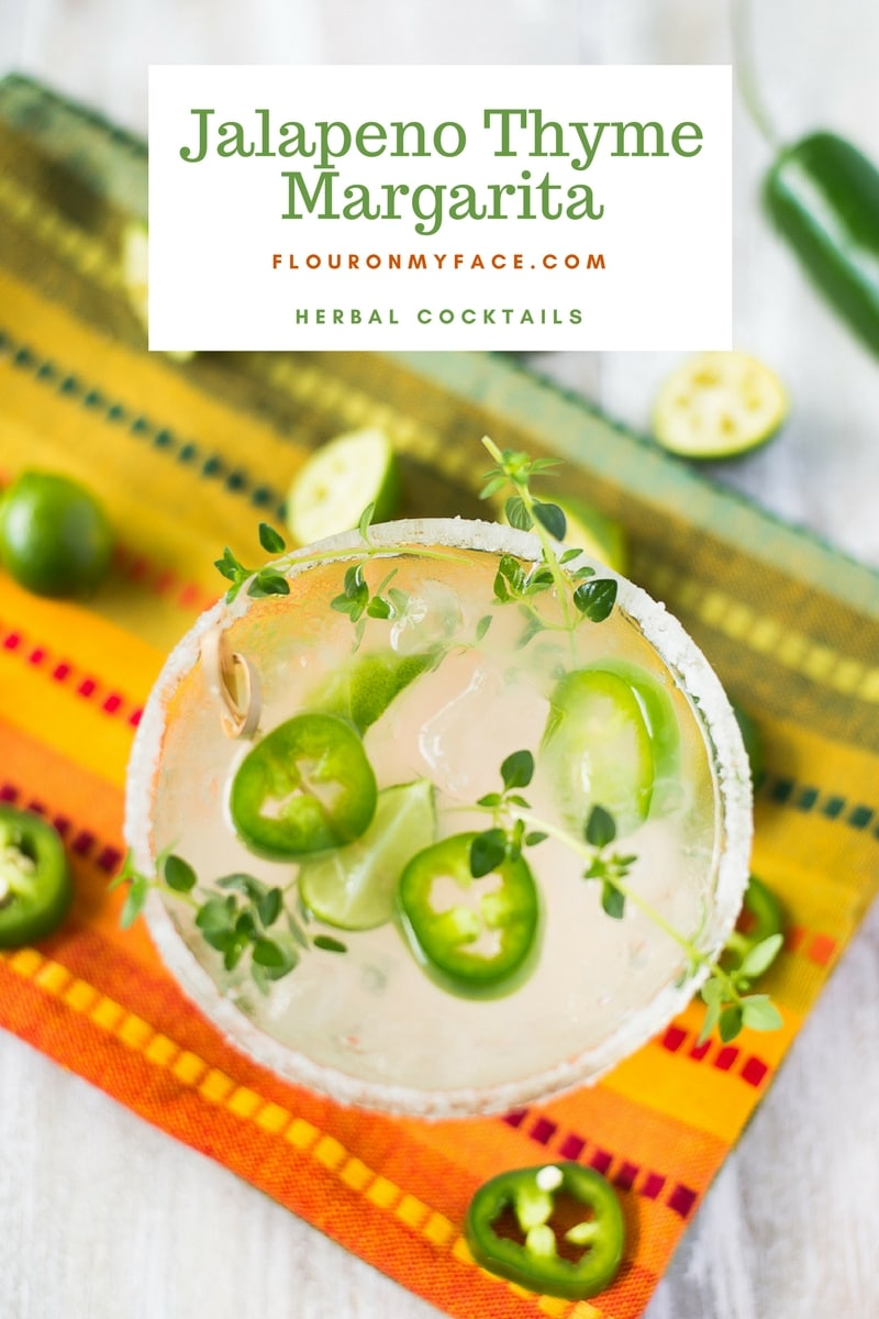 Herbal Cocktail recipe using fresh thyme and jalapeno peppers for a spicy Jalapeno Thyme Margarita recipe
