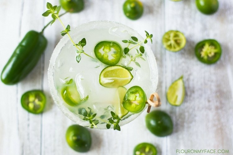 Spicy Margarita recipe made with jalapeno pepper