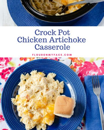 Cheesy Crock Pot Chicken Artichoke Casserole on a blue plate served with a dinner roll
