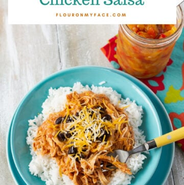 Crock Pot Creamy Chicken Salsa recipe served ovr white rice in a teal bowl with homemade salsa in a jar
