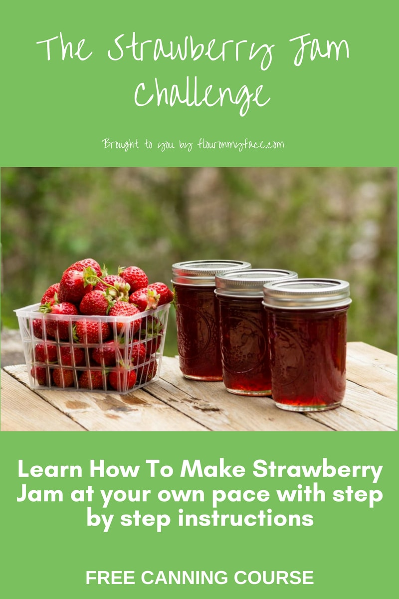Join the FREE Canning Course by Arlene Mobley of flouronmyface.com This free email course included step by step instructions along with step by step photos teaching you how to make your first batch of homemade Strawberry Jam. It is a perfect beginner canning guide to get you canning!