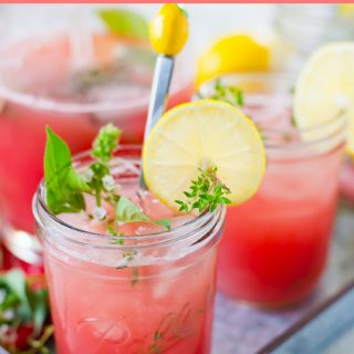 Watermelon Thyme Lemonade made with fresh picked thyme from the garden.