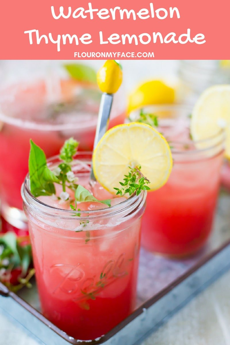 Watermelon Thyme Lemonade made with fresh thyme from the garden.