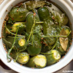 A crock full of fermenting Kirby cucumbers with fresh dill and pickling spices.