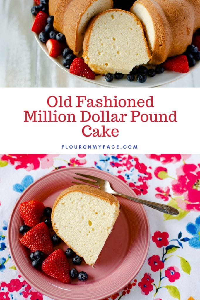 Million Dollar Pound Cake recipe served with berries on a pink cake plate with the whole Pound Cake on a cake stand surrounded with strawberries and blueberries.