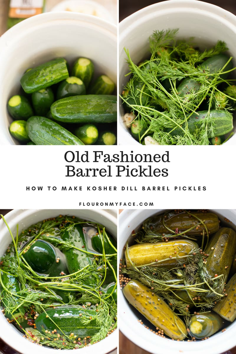 Step by step photos of making homemade barrel pickles in a ceramic fermenting crock.
