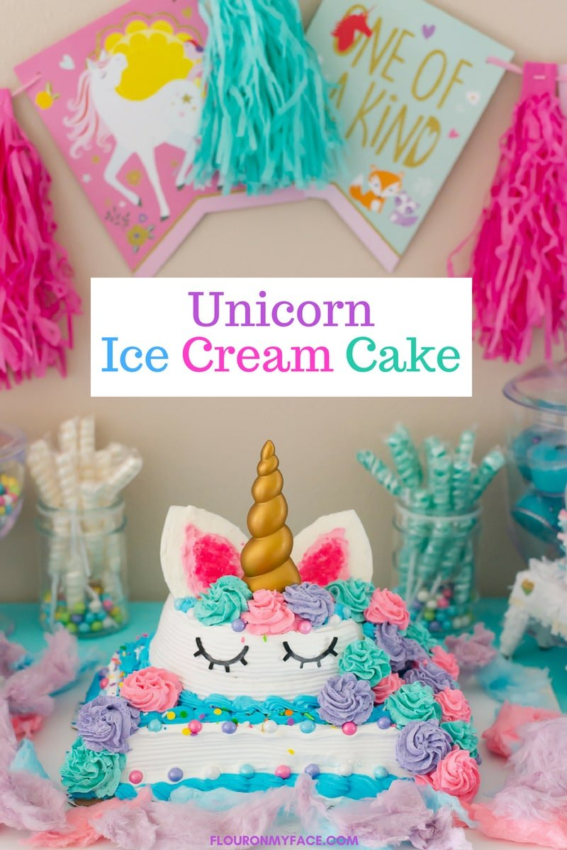 Unicorn Ice Cream Cake made with Carvel Ice Cream Cakes for a Unicorn Themed Birthday party