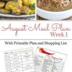 Free Flour On My Face August Weekly Meal Plan 6 with free meal plan menu and shopping list printable