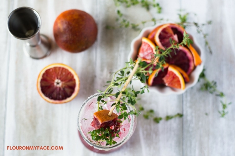 Blood Orange Herbal Cocktail recipe with fresh thyme and blood oranges