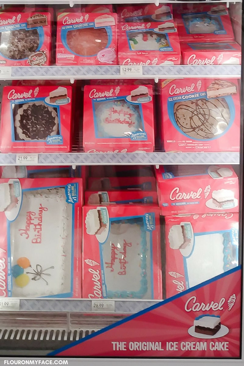 Carvel Ice Cream Cakes available at Publix in the bakery department.
