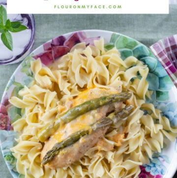 Cheesy Crock Pot Asparagus Chicken recipe is easy to make and a delicious way to enjoy summer asparagus.