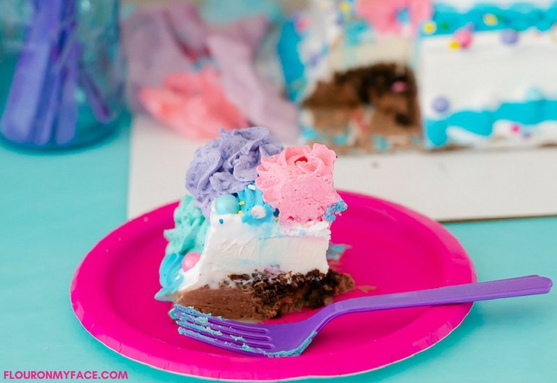 DIY Unicorn Ice Cream Cake instructions.