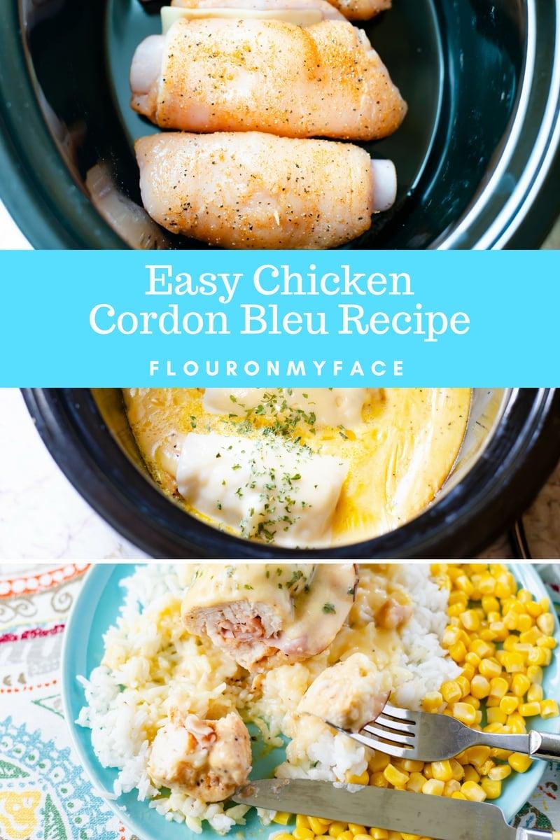 How To Make Easy Crock Pot Chicken Cordon Bleu recipe served over white rice.