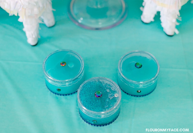 Glow in the Dark and Glitter Unicorn Slime party favors for a little girls birthday party
