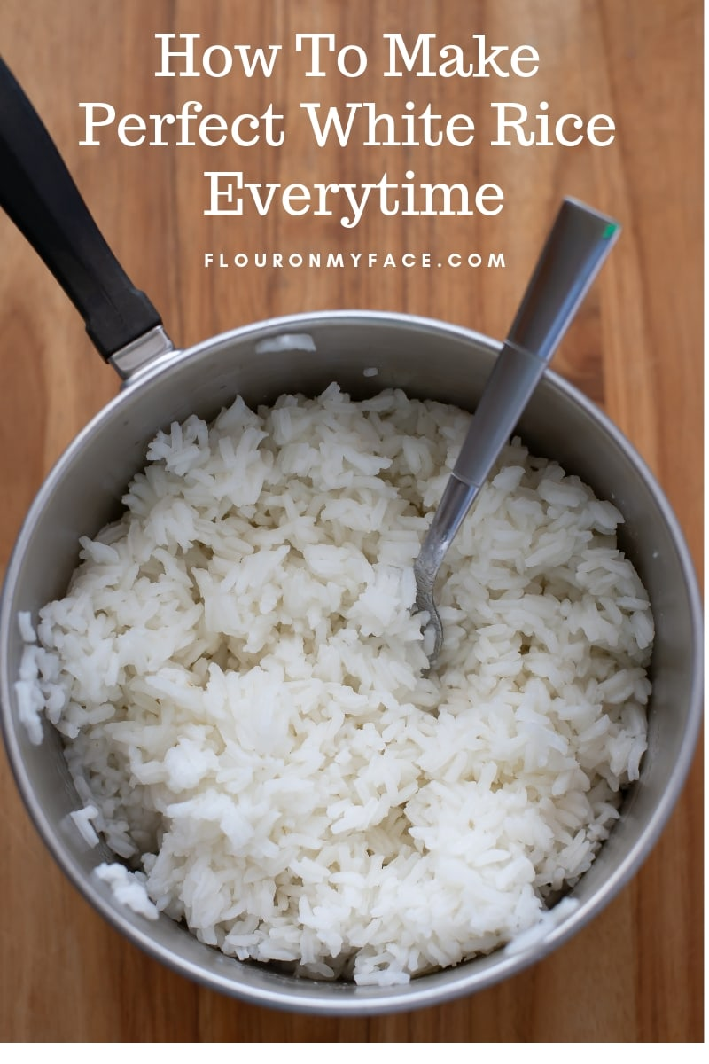 A saucepan filled with perfect long grain white rice.