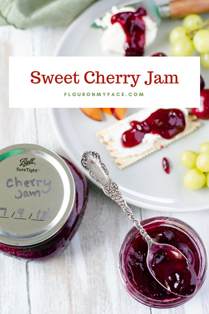 Sweet Cherry Jam recipe served on a cheese platter with goat cheese and fruit