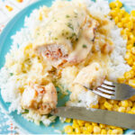 Unbreaded Crock Pot Chicken Cordon Bleu recipe served with white rice and corn.