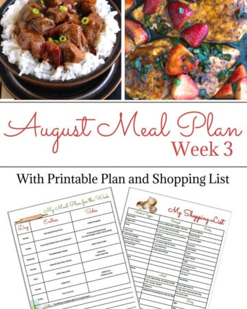 Flour On My Face Weekly Meal Plan 8 for August week 2 with printable meal plan and shopping list. Optional free blank meal planning template included.