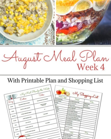 Flour On My Face Weekly Meal Plan 9 August Week 4 with free meal plan prinatble and shopping list. Optional Blank Meal Planning Menu Printable