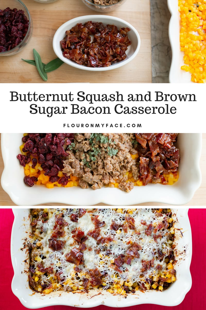Collage of Butternut Squash Sausage Casserole recipe