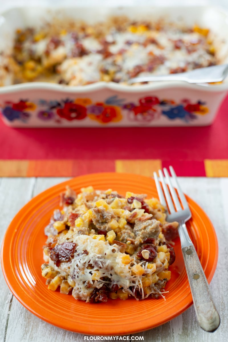 Easy Butternut Squash Casserole recipe that can be served as a main dish, side dish or even used as a turkey or vegetable stuffing.