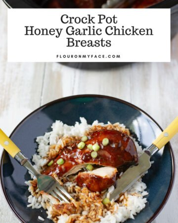 Crock Pot Honey Garlic Chicken Breasts served over a bed of white rice