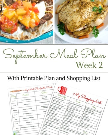 Flour On My Face Weekly Meal Plan 11 for you second week of September meal planning.