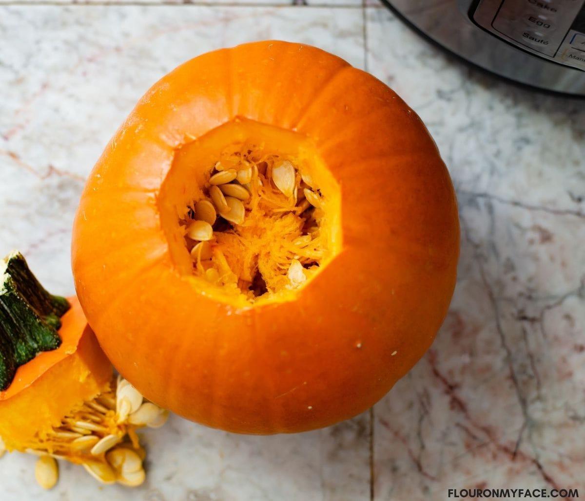How to clean a pie pumpkin.