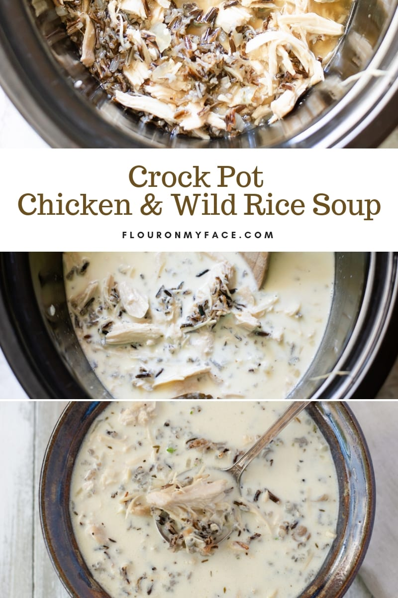Collage photo pf Crock Pot Creamy Chicken and Wild Rice Soup