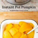 Pressure cooker pumpkin cooling in a white metal pan.