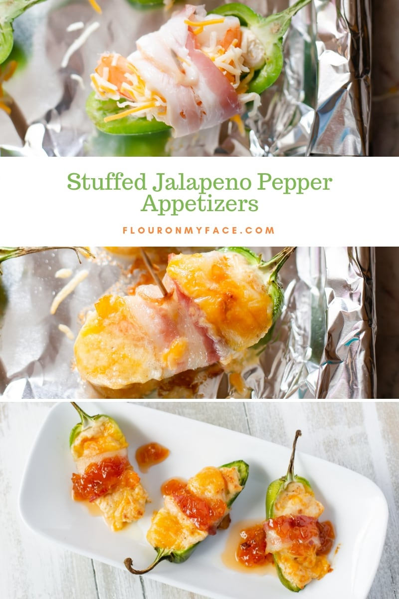 Bacon Wrapped Stuffed Jalapeno Popper appetizer recipe.