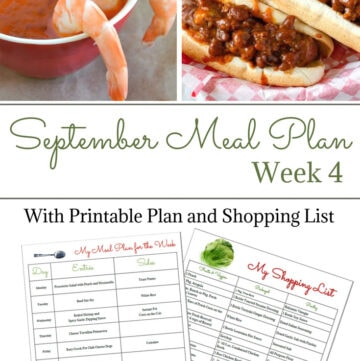 Flour On My Face Weekly Meal Plan 13 for the 4th week of September with free menu printable and shopping list