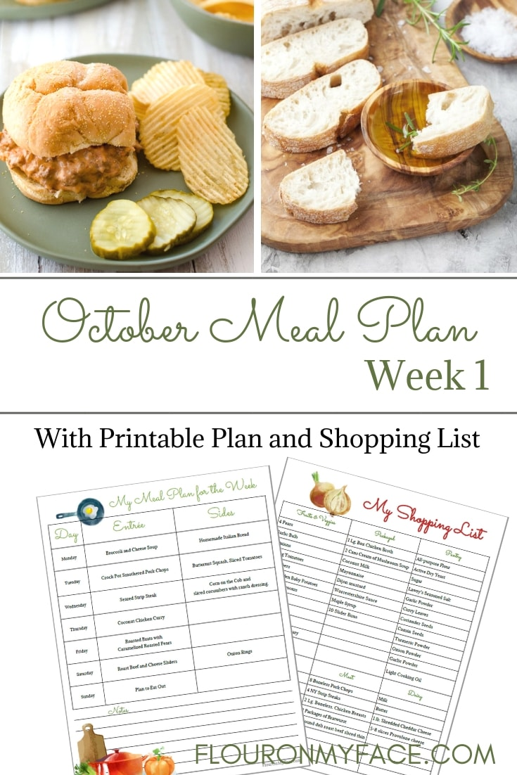 Weekly Meal Plan 14 for the first week of October with free meal planning printables