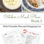 Weekly Meal Plan 16 for the 3rd week of October with free Meal Planning Printables