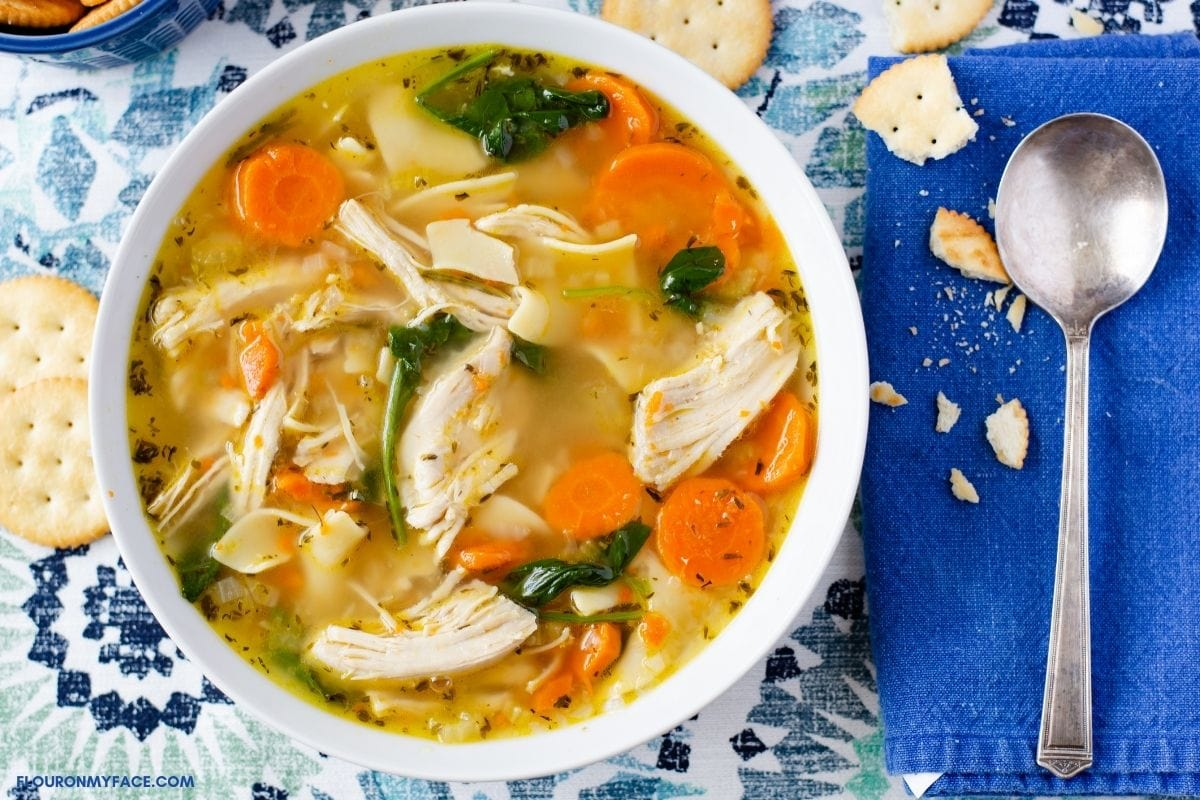 A bowl of chicken noodle soup.
