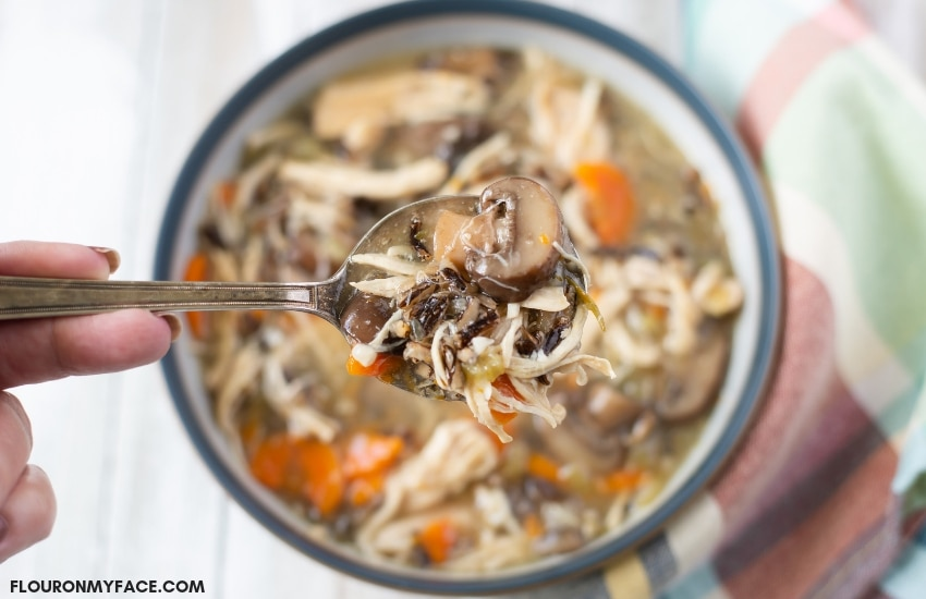 Closeup photo of a bowl of Instant Pot Chicken Wild Rice Mushroom Soup recipe