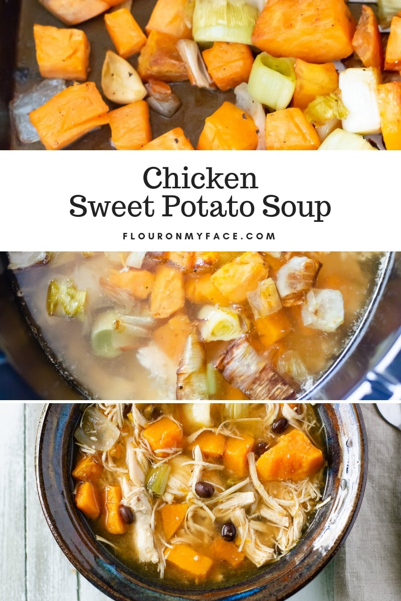 Collage photo of step by step Crock Pot Chicken Roasted Sweet Potato SOup recipe