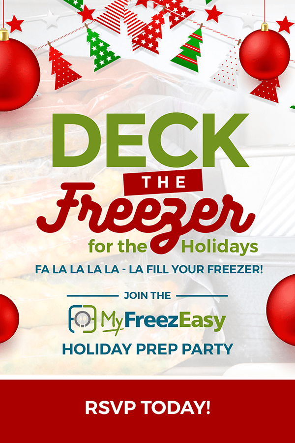 Deck The Freezer Party invite image with Erin Chase of $5 Dinners