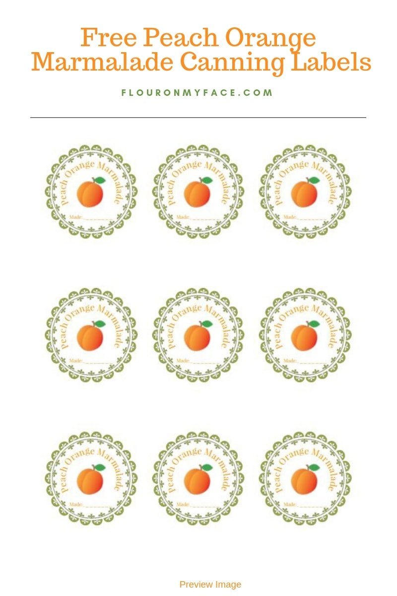 Free printable Peach Orange Marmalade canning label
