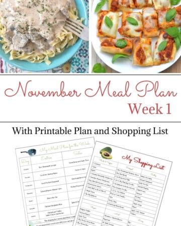 November Weekly Meal Plan week 1
