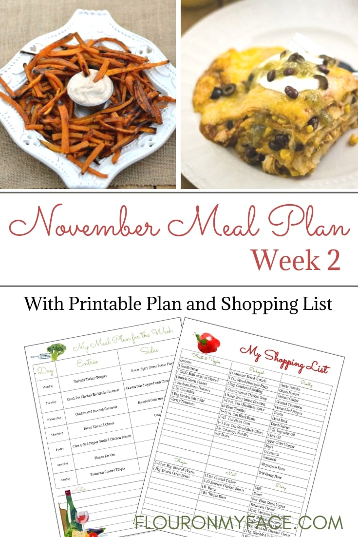 November Weekly Meal Plan Week 2 Menu with printables