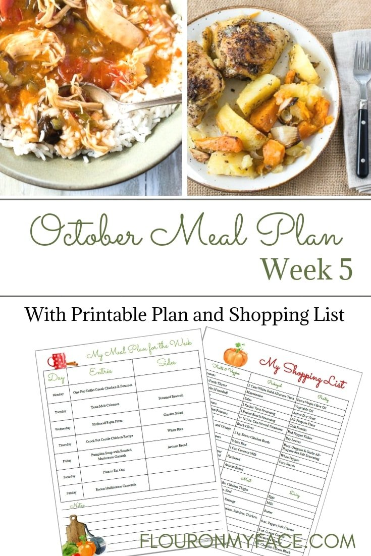 October Weekly Meal Plan Week 5 for the last week of October. Print out a pretty weekly meal planning menu and shopping list for your recipe binder.