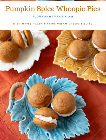 Pumpkin Spice Whoopie Pie recipe with Maple Pumpkin Spice Buttercream frosting filling on a fall leaf serving plate