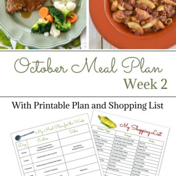 Weekly Meal Plan 15 for the second week of October with free meal planning printables