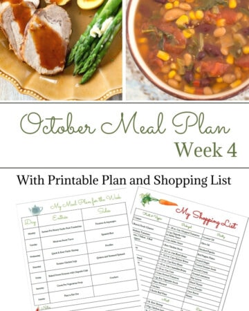 Weekly Meal Plan 17 for the 4th week of October with free meal planning printables and menu planning templates.