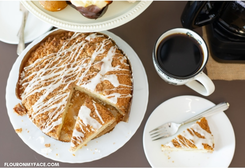Coffee Cake dessert with fresh brewed coffee