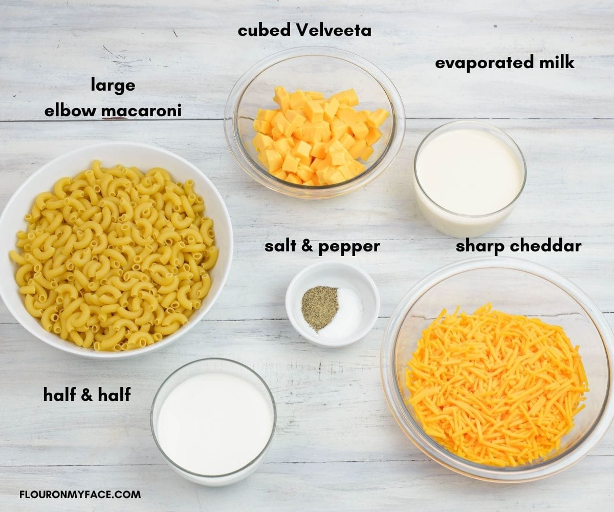 Crock Pot Macaroni and cheese ingredients in individual bowls.