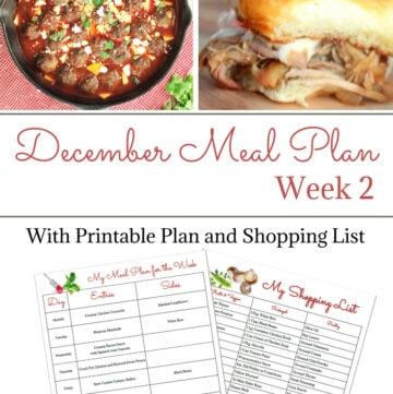 December Weekly Meal Plan Week 2 with free printable meal plan and shopping list